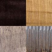 Uppsättning av brun tygprover — Stockfoto