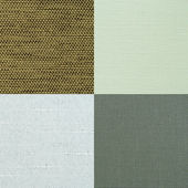 Set of green fabric samples — Stock Photo