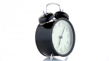 Old fashioned alarm clock — Stock Video
