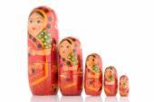 Five red Babushka — Stock Photo