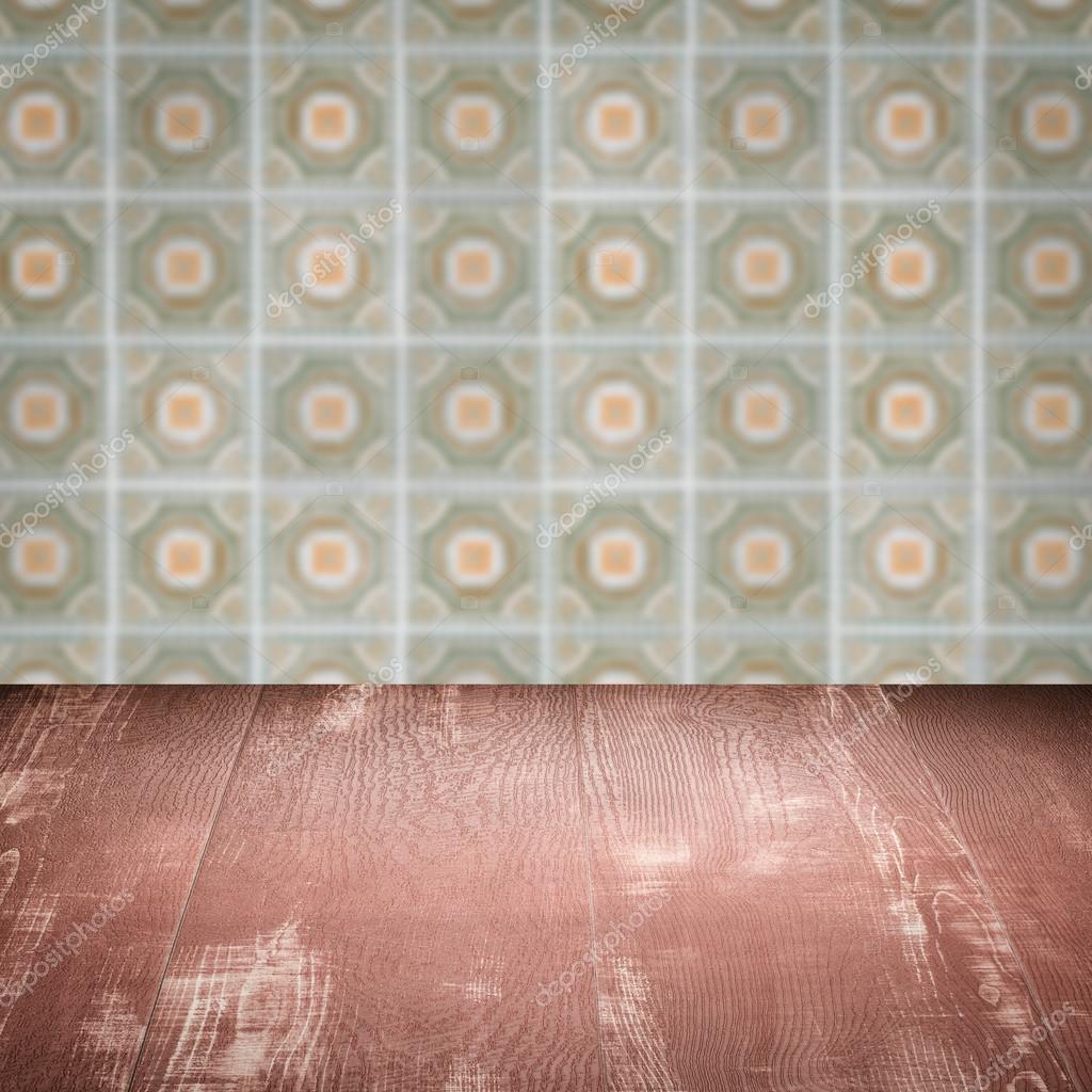 空木桌子顶部和模糊背景