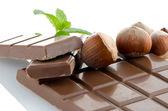 Chocolate Bar with hazelnuts — Stock Photo