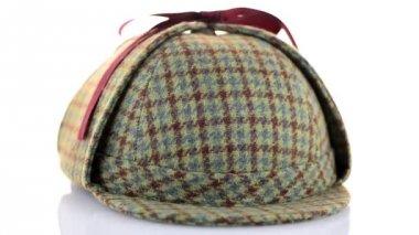 British Deerhunter or Sherlock Holmes cap — Stock Video