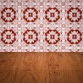 Mesa de madera y pared de cerámica vintage patrón de desenfoque — Foto de Stock
