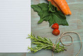 White paper and vegetables — Stock Photo
