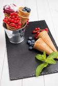 Berry ice cream cone — Stock Photo