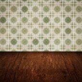 Дерево столешницы и размытия Винтаж керамической плитки картина стены — Стоковое фото