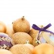 Golden christmas balls — Stock Photo #80574362