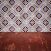 Houten tafelblad en vervagen vintage ceramiektegel patroon muur — Stockfoto