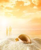 日落时分,在海滩上情侣 — 图库照片