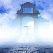 A Hanukkah Menorah on art background — Stock Photo