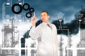 Engineer ecologist.Clean Climate Earth.Ecology concept — Stock Photo