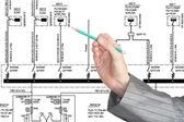 Engineering electrical scheme — Stock Photo