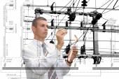 Engineering industrial designing power line — Stock Photo