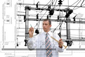 Engineering industrial designing power line — Foto de Stock