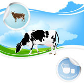 Milk.Bio product.Cow — Stock Vector