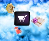Flying christmas gifts.Internet holiday buy — Stock Photo