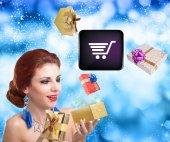 Internet buy for Girl in Christmas — Stock Photo