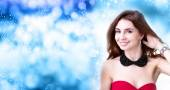 Beauty Girl over Christmas background — Stock Photo