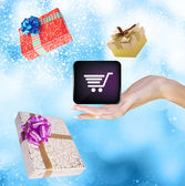 Internet Gifts in Christmas.Buy — Stock Photo