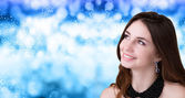 Beauty Girl over Christmas background — Foto de Stock