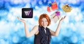 E-Buy in Christmas.Internet Gifts — Stock Photo