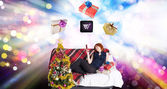 Happy Women with internet gifts in Christmas — Stock Photo