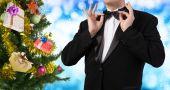 Tuxedo.Holiday Christmas.Eve tree with Gifts — Stock Photo