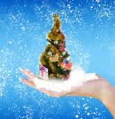 Christmas eve tree with Gifts — Stock Photo