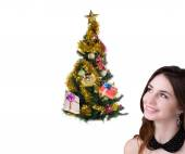 Beautiful Caucasian Women with green  Christmas Eve tree over white background.New Year — Stock Photo