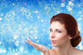 Beautiful Women over winter Christmas background.Spa — Stock Photo