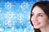 Beautiful young Girl over snow Christmas background — Φωτογραφία Αρχείου