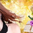 Fashion Magic Woman with holidays tree over Christmas background — Stock Photo #61172189