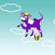 Happy purple dairy cow on clouds.Sticker milk fresh products — Stock Photo #61903629