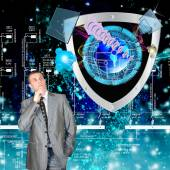 Security connection and cosmic telecommunications technology — Stock Photo