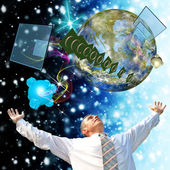 Science.Research Cosmos.Digital telecommunications technology — Stock Photo