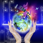 Космос технологии. Высокая скорость Интернет. Подключение — Стоковое фото