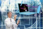 Engineering designing telecommunications technologies — Stock Photo