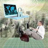 Computer security.Businessman with modern laptop open programming code.Safety Internet — ストック写真