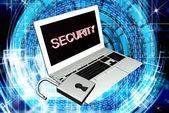 New model laptop with open lock.Security Internet — Zdjęcie stockowe