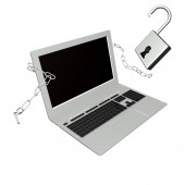 Moderm laptop with metal chain and open lock.Concept Safety Internet — Stock Photo