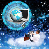 Businessman on clouds with notebook and globe planet with chain metal with lock — Stock Photo