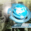 Globe Planet Earth with modern computer laptop over abstract background.Connection technologies.Intrenet concept — Stock Photo #65017829