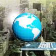 Globe Planet Earth with modern computer laptop over abstract background.Connection technologies.Intrenet concept — Stock Photo #65017841