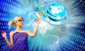 Education future.Young Woman with globe planet Earth.Internet technologies — Stock Photo