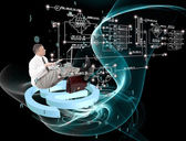 Engineering designing communications connection technologies — Stock Photo