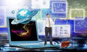 Engineering designing communications connection technologies.Creation innovative technology future — Stock Photo