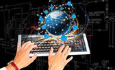Generation Internet connection technologies.Creation Networking — Stock Photo