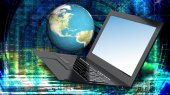 High innovation high speed laptop for global Internet technology — Stock Photo