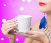 Woman  with cup coffee — Stock Photo